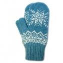 Голубые шерстяные варежки с белой снежинкой