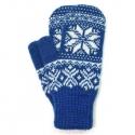 Синие шерстяные варежки с узорами и белой снежинкой