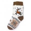 Белые шерстяные носки с рыжим оленем и снежинкой
