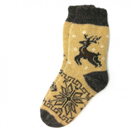 Вязаные шерстяные носки с оленем и снежинкой