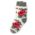 Белые шерстяные носки с рисунком розы