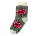 Серые шерстяные носки с ярким рисунком розы