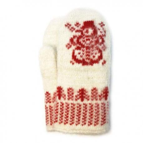 Веселые детские шерстяные варежки со снеговиком