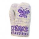 Детские шерстяные варежки с фиолетовой бабочкой-желаний