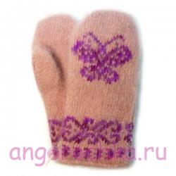 Персиковые детские шерстяные варежки с фиолетовой бабочкой-желаний