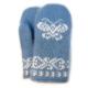 Детские шерстяные варежки голубого цвета с бабочкой желаний