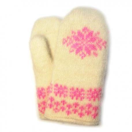 Белые вязаные шерстяные варежки с розовой снежинкой