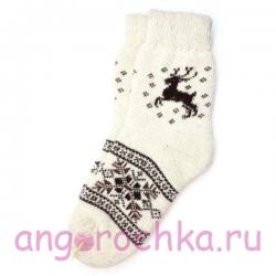 Мужские шерстяные носки с оленями и снежинками