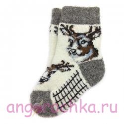 Детские безразмерные шерстяные носки с рисунком - оленем