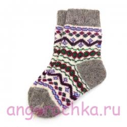 Детские безразмерные шерстяные носки с орнаментом