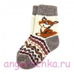 Детские безразмерные шерстяные носки с лисенком