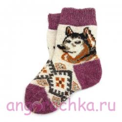 Детские безразмерные шерстяные носки с волчонком