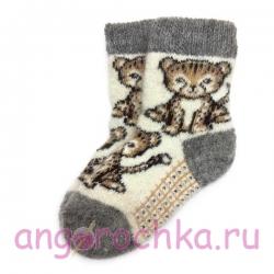 Детские безразмерные шерстяные носки с котенком