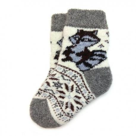 Детские безразмерные шерстяные носки с енотом