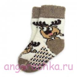 Детские безразмерные шерстяные носки с мультяшной лосяшкой