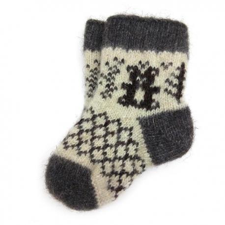 Детские шерстяные носки с мишкой