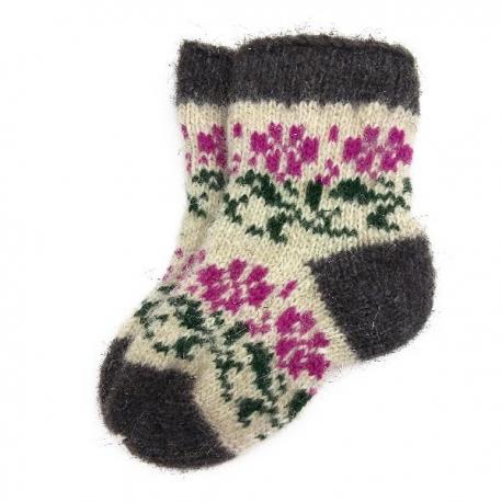 Детские шерстяные носки с цветочками