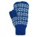 Синие шерстяные варежки со снежинками