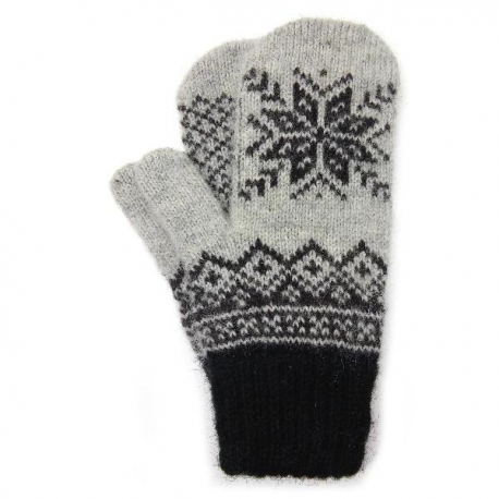 Черно-серые шерстяные варежки со снежинкой