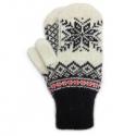 Черно-белые шерстяные варежки со снежинкой