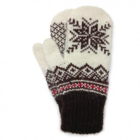Бело-коричневые шерстяные варежки со снежинкой