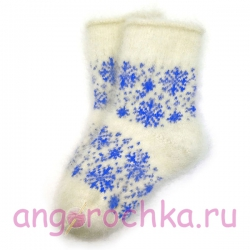 Детские пуховые носки со снежинками