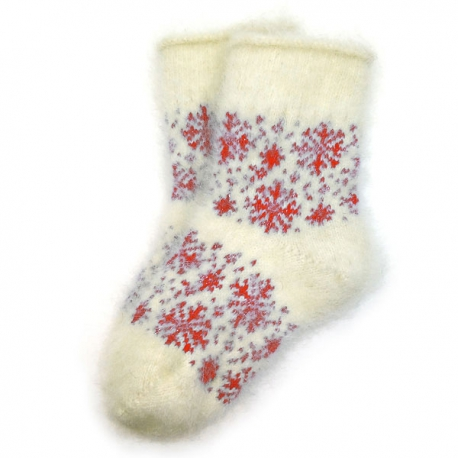 женские пуховые носки со снежинками