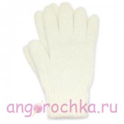 Белые вязаные шерстяные перчатки