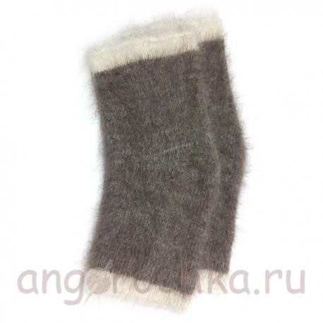 Серые пуховые согревающие наколенники