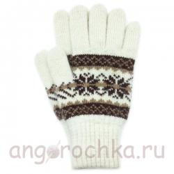 Белые шерстяные перчатки с орнаментом