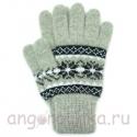 Светло-серые шерстяные перчатки с рисунком