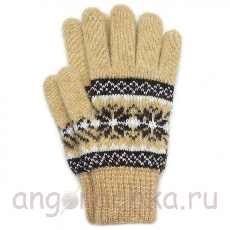 Бежевые шерстяные перчатки