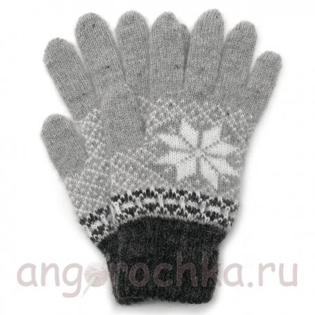 Мужские вязаные шерстяные перчатки со снежинкой