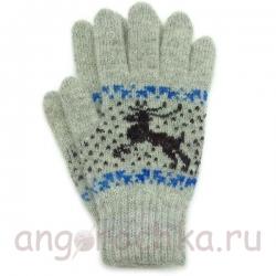 Серые шерстяные перчатки с оленями