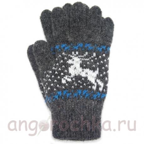 Темно-серые шерстяные перчатки с оленями