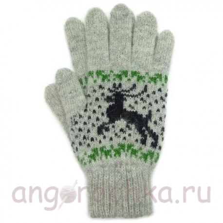 светло-серые шерстяные перчатки с оленями