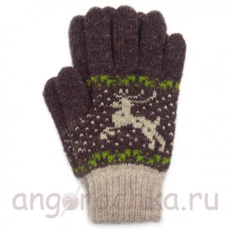 Коричневые шерстяные перчатки с оленями