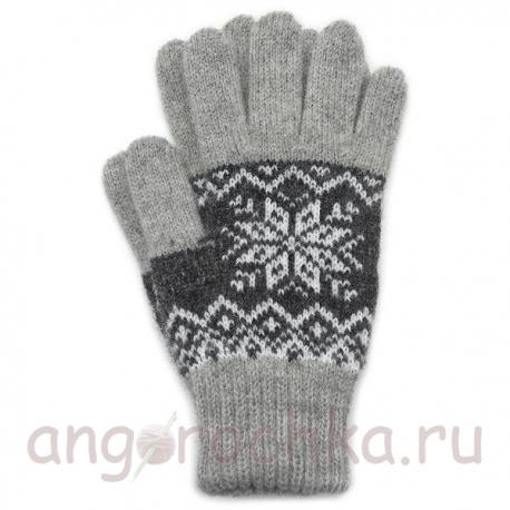 Двухцветный шерстяные перчатки со снежинкой