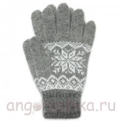 Серые шерстяные перчатки со снежинкой