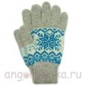 Двухцветные шерстяные перчатки со снежинкой