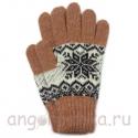 Терракотовые теплые шерстяные перчатки со снежинкой