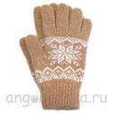 Бежевые теплые шерстяные перчатки со снежинкой