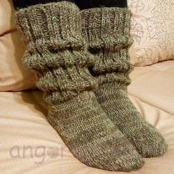 Серые женские шерстяные носки-полугольфы