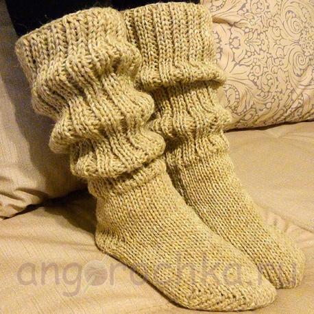 Бежевые женские шерстяные носки-полугольфы