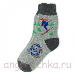 Мужские шерстяные носки с лыжником