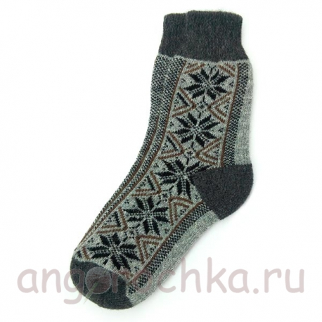 Мужские шерстяные носки с орнаментом-снежинками
