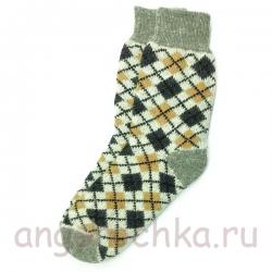 Мужские шерстяные носки с орнаментом-ромбами