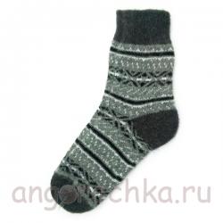 Мужские шерстяные носки с черно-белым орнаментом