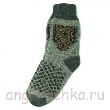 Мужские шерстяные носки с коричневым орнаментом