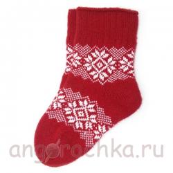Красные вязаные женские носки с орнаментом
